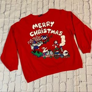 Vintage 80's Ugly Christmas Sweater Puffy Paint XL